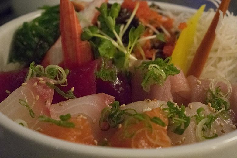 Chirashi, a selection of sashimi over sweet vinegared rice, at Takamatsu restaurant, Tucson, AZ