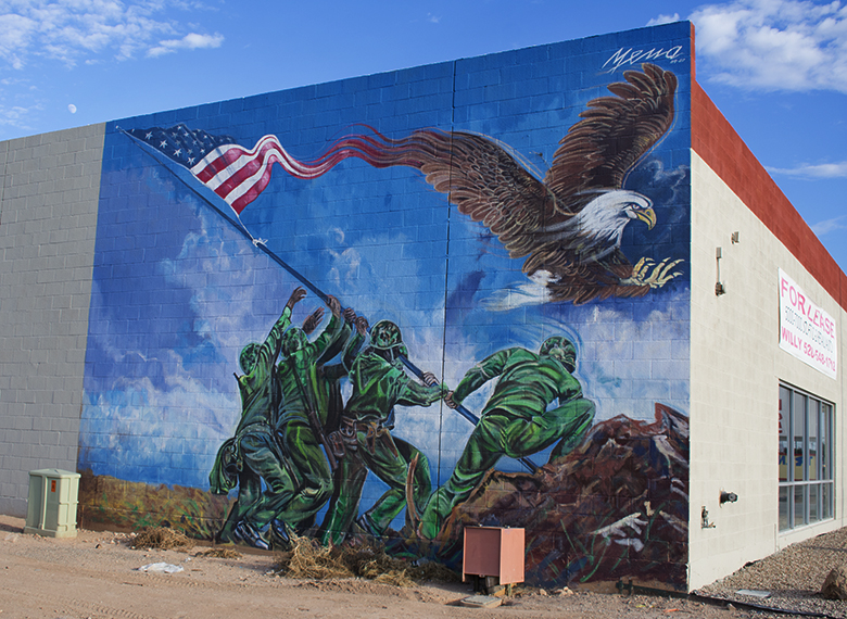 Mena Iwa Jima Mural on Craycroft, Tucson, photography by M. LaFreniere, all rights reserved