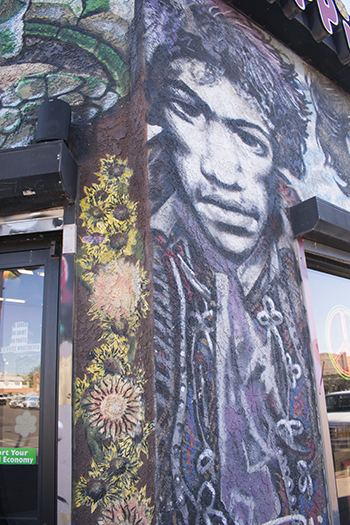 Hippie Gypsy rock n' roll mural detail, Tucson, photo by M. LaFreniere, all rights reserved