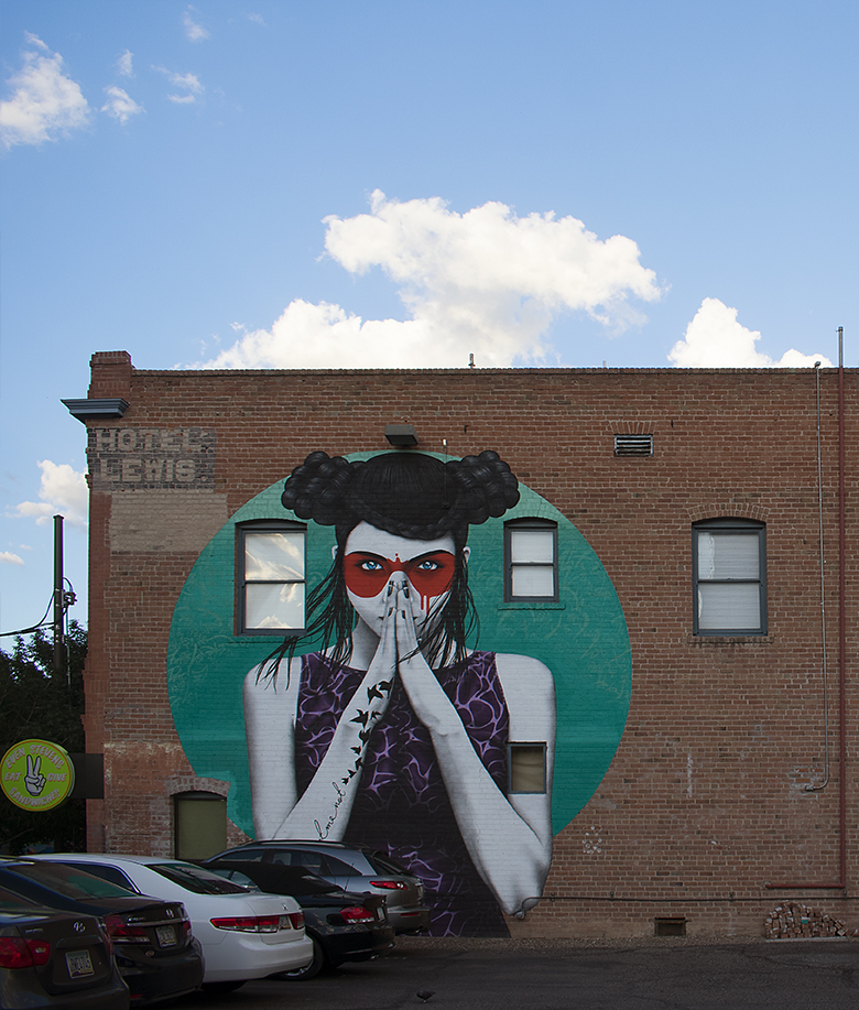 DAC Fin's Vergiss mural on Hotel Lewis, downtown Tucson, photo by M. LaFreniere, all rights reserved
