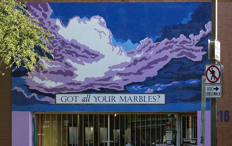 Got all your marbles mural, downtown Tucson, photo by M. LaFreniere, all rights reserved, Cactus Catz