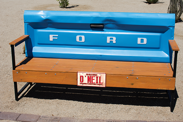 Found art bench using Ford tailgate, Casa Grande Neon Park, photo by M. LaFreniere, CactusCatz